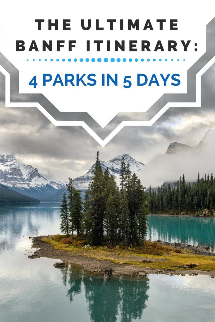 Headed on a Canada road trip to Banff? Here's the perfect Banff itinerary to hit Lake Louise, Lake Moraine, Jasper National Park, Johnston Canyon Cave, and of course, Banff National Park for lakes, parks, and mountains galore. Enjoy summer in the Canadian Rockies for hiking and photography. #roadtrip #canada #banff