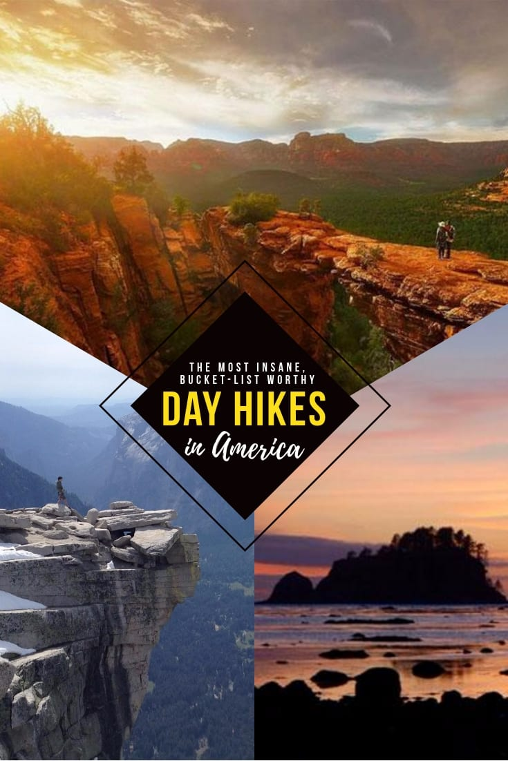 Looking for insane nature porn and crazy views? These day hikes are the best bucket list hikes in America, sure to having you break out a sweat...and your camera. Adventures in state parks, national parks, and beyond. Roadtrip and vacation inspo for beautiful places throughout the US. #hiking #hikes #adventure #usa #outdoors #adventures #travel #getaway