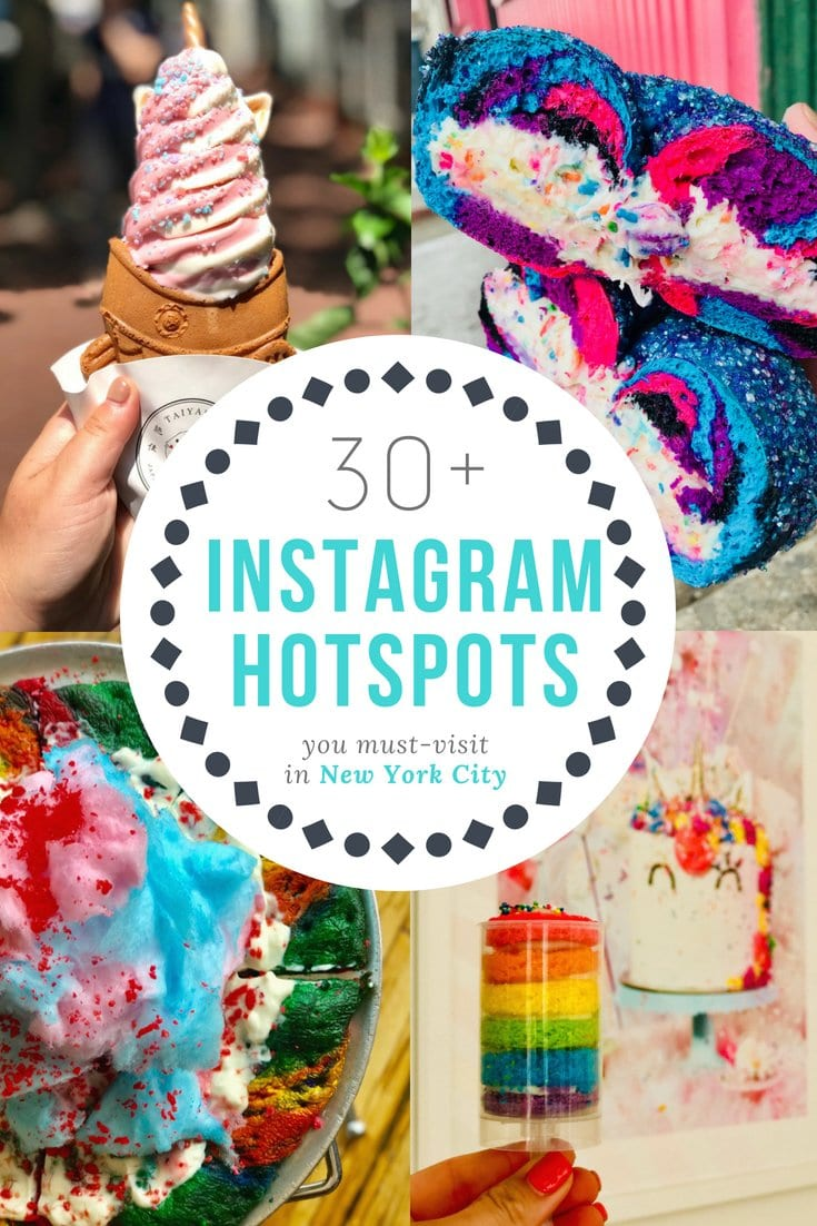 Ready for a rainbow, unicorn bucket list explosion of food porn? Check out the must see / must see Instagram restaurants in NYC from over the top desserts to insane colorful creations created specifically for IG from coffee bars to rooftop bars in Manhattan and beyond. We like to call this eating for the 'gram. #newyork #nyc #iloveny #travel #food #instagram #usa #eat #rainbowfood #foods