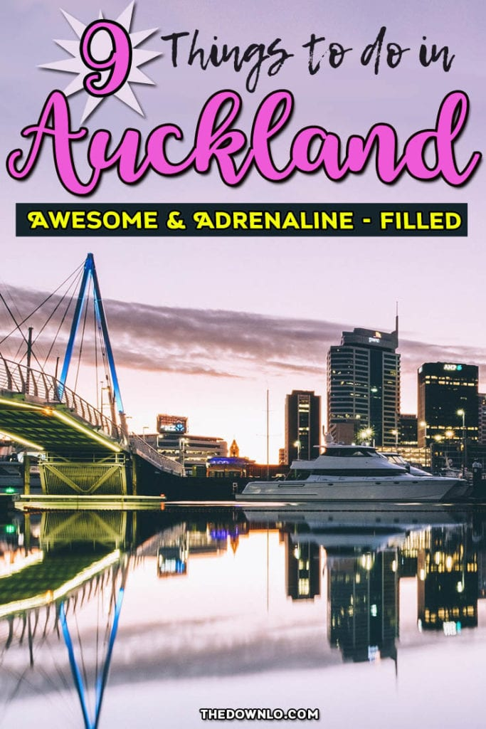 Epic things to do in Auckland, New Zealand include island hopping, beaches and adventure. See the skyline from above, walk the bridge, take a day trip to the glow worm caves or Hobbiton, and explore Middle Earth. #newzealand #auckland #travel
