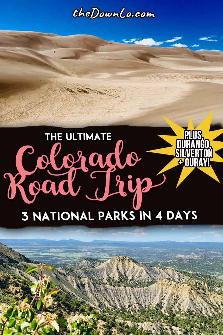 The ultimate Southern Colorado road trip itinerary for summer with map! Travel to one of the best US states to see three national parks plus photography and picture spots, the Rocky Mountains, San Juans, and camping destinations, and beautiful adventures in America. Places to see include Durango, Silverton, Ouray, and Pagosa Springs for awesome family vacations, outdoors, and nature. Pack the cars for waterfalls, sand dunes, hiking, and friends. It's a bucket list weekend trip from Denver.