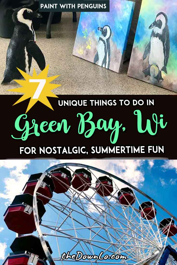 Looking for fun things to do in Green Bay, Wisconsin? Explore the downtown city, the Packers legacy, awesome restaurants (with plenty of cheese), and attractions for adults and kids alike. Enjoy the Midwest's best food, photography spots, paint with animals, and football fans (go pack go). Children or couples won't be bored on this US lake town. #greenbay #wi #wisconsin #travel #usa #midwest #america