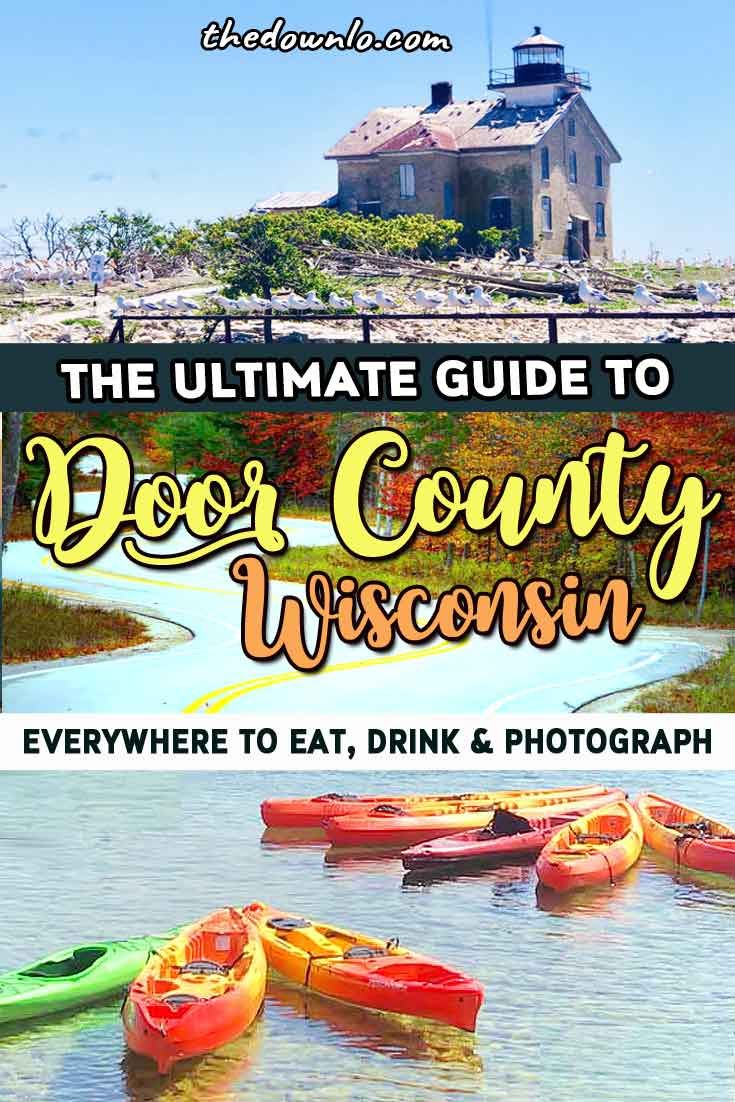 Looking for fun things to do in Door County, (near Green Bay) Wisconsin? I have all the best travel ideas for places to stay, beaches, adventure, and photography spots from kayaking to lighthouses, wineries, and hiking. It's the perfect summer weekend getaway for vacation with kids, for couples, and families. See famous Al Johnsons goat roof restaurant, eat cherries, Cave Point, a Fish Boil, Peninsula State Park, and more places to visit. Midwest lake life forever. #doorcounty #wisconsin #wi