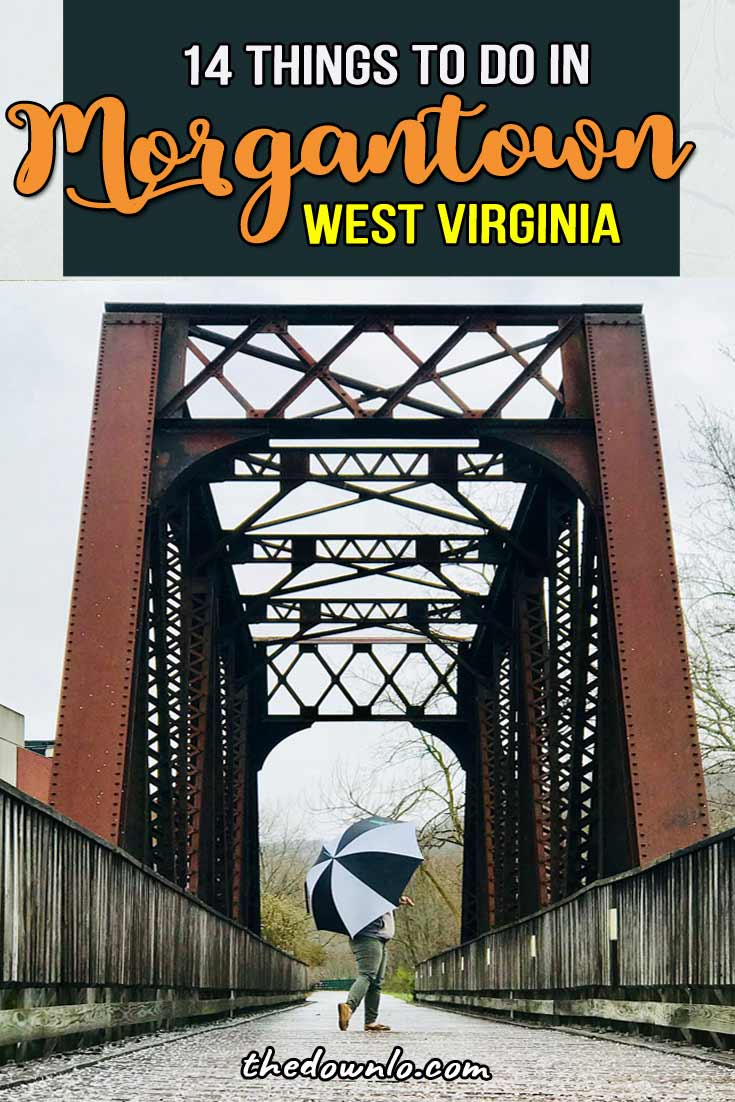 The best things to do in Morgantown, West Virginia from the prettiest spots on the University of WVA Mountaineers campus (they have ziplining!) to the best food (try the pepperoni rolls!), restaurants, bars, tram rides, overlooks, and adventure. Try epic whitewater rafting or paddling the river, biking the hills, and check out the scenery at Cooper's Rock State Park for hiking and nature photography spots. Pictures to inspire a bucket list trip #travel #wva #westvirginia #vacation #usa