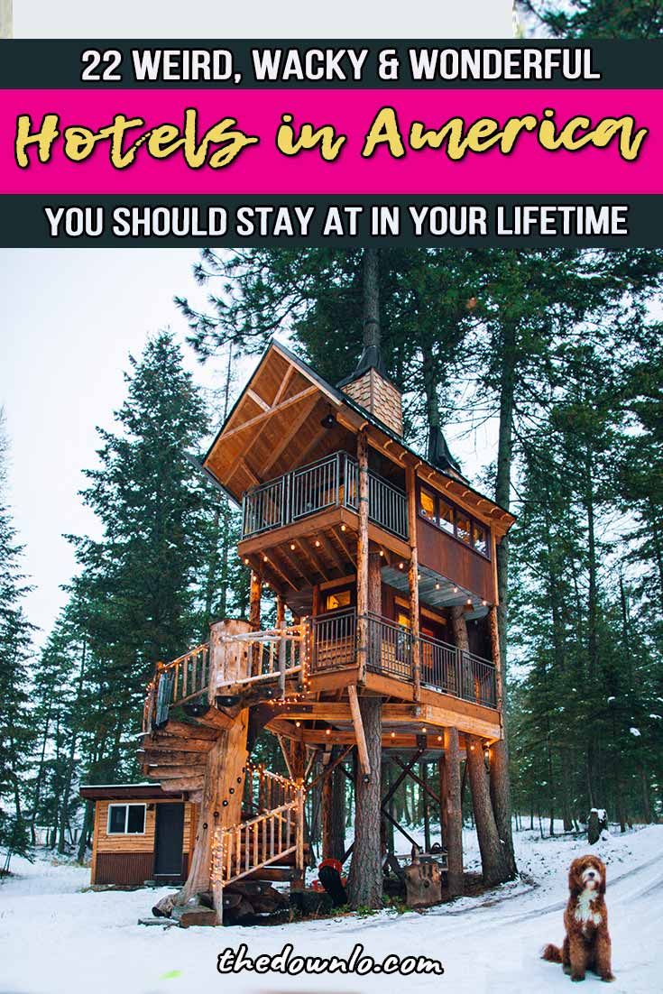 Unique hotel design and architecture around the world makes a crazy vacation concept come to life. Inspiration and ideas for your next trip from outdoor treehouses to mountain and nature retreats. These awesome home rentals and airbnb are not your average resort. From budget to luxury, beach to city, plan to stay at one of these awesome, weird hotels in America or add it to your travel bucket lists.