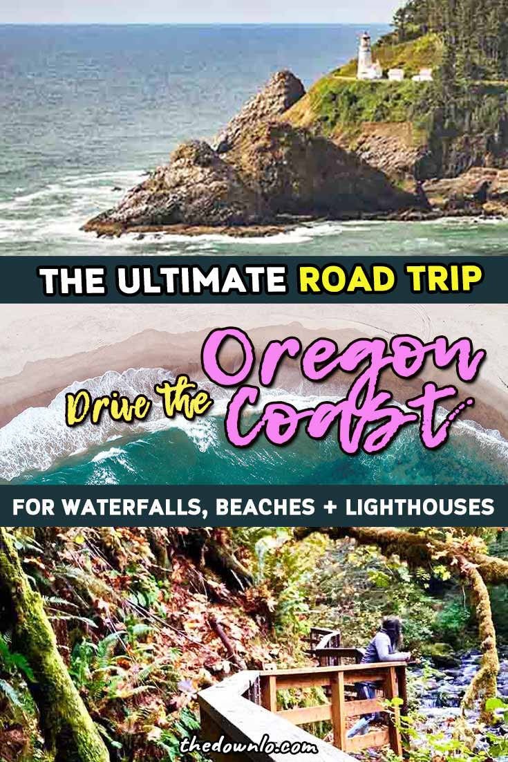 The ultimate central and north Oregon road trip with map: drive the coast to Devil's Punch Bowl, Thor's Well, famous rocks, and more nature. Travel from Eugene to Portland through forest, mountains, beach, and coastline with hiking stops, waterfalls, tide pools, and lighthouses. Things to do and places to visit for photography and bucket lists. A full 48 hour itinerary and travel guide. Hikes, ocean pictures, whale watching, sea lions, and must see seaside places for fall, spring, or summer.