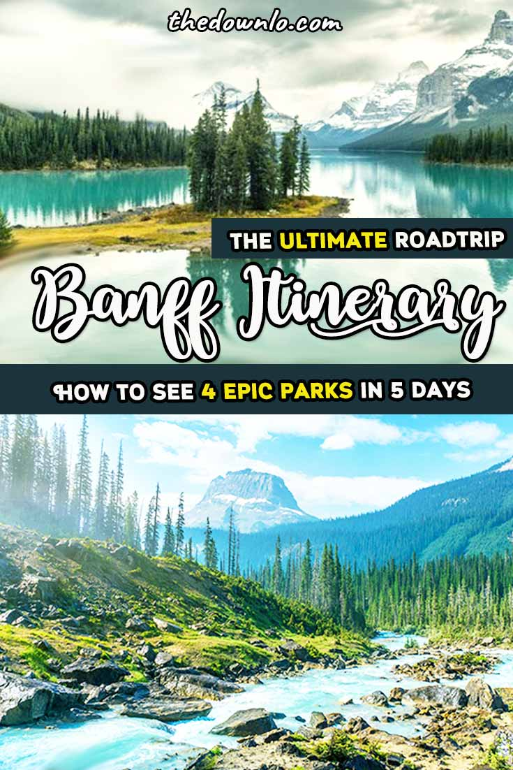 Looking for the perfect Banff itinerary and adventure vacation pictures to inspire trips and travel? Hit Lake Louise, Lake Moraine, Jasper National Park, Johnston Canyon Cave, and Banff National Park for lakes, parks, and mountains. Enjoy a fun 5 day road trip through the Canadian Rockies for things to do this spring, summer or fall for waterfall, glacier hiking and mountain landscape photography, Instagram photoshoots, hikes, and the great outdoors. #roadtrip #canada #banff #travel #alberta
