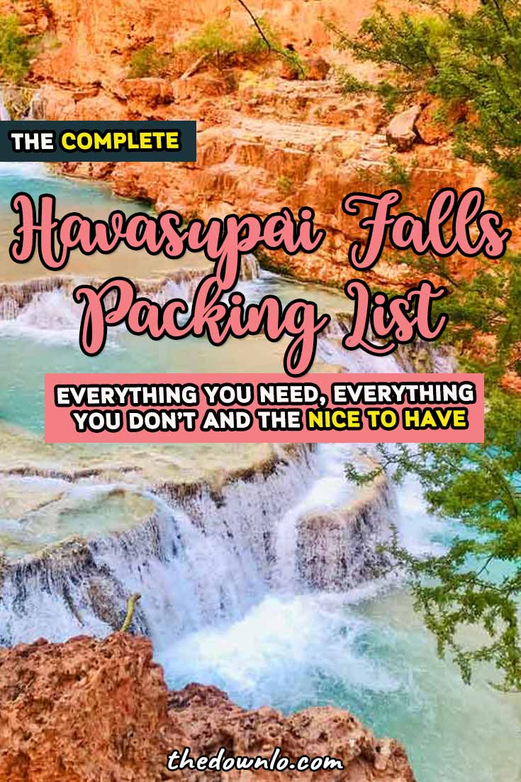 Havasupai Falls Packing List -- everything you need for the hike, camping, lodge, food, helicopter, campground, and photography tips and tricks for hiking and backpacking in Arizona. How to get a permit to Havasu Falls, the map, clothes to bring, and photoshoot ideas. One of the best waterfall trips in the USA in the Grand Canyon. #america #waterfalls #havasupai #havasu #hiking #backpacking #packinglist #camping