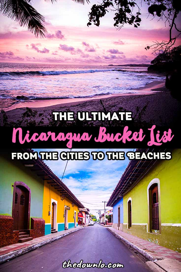 Travel to Nicaragua: Looking for things to do in Nicaragua? Enjoy these fun bucket list travel activities with beautiful pictures and trip ideas and tips to the islands, beaches, cities, and volcanoes. Included is what to do in beautiful adventure destinations and Central America cities like Granada, Leon, sand boarding in Cerro Negro, El Lago de Apoyo, beach, culture, nature, and photography spots. #nicaragua #travel #centralamerica #adventure #wanderlust