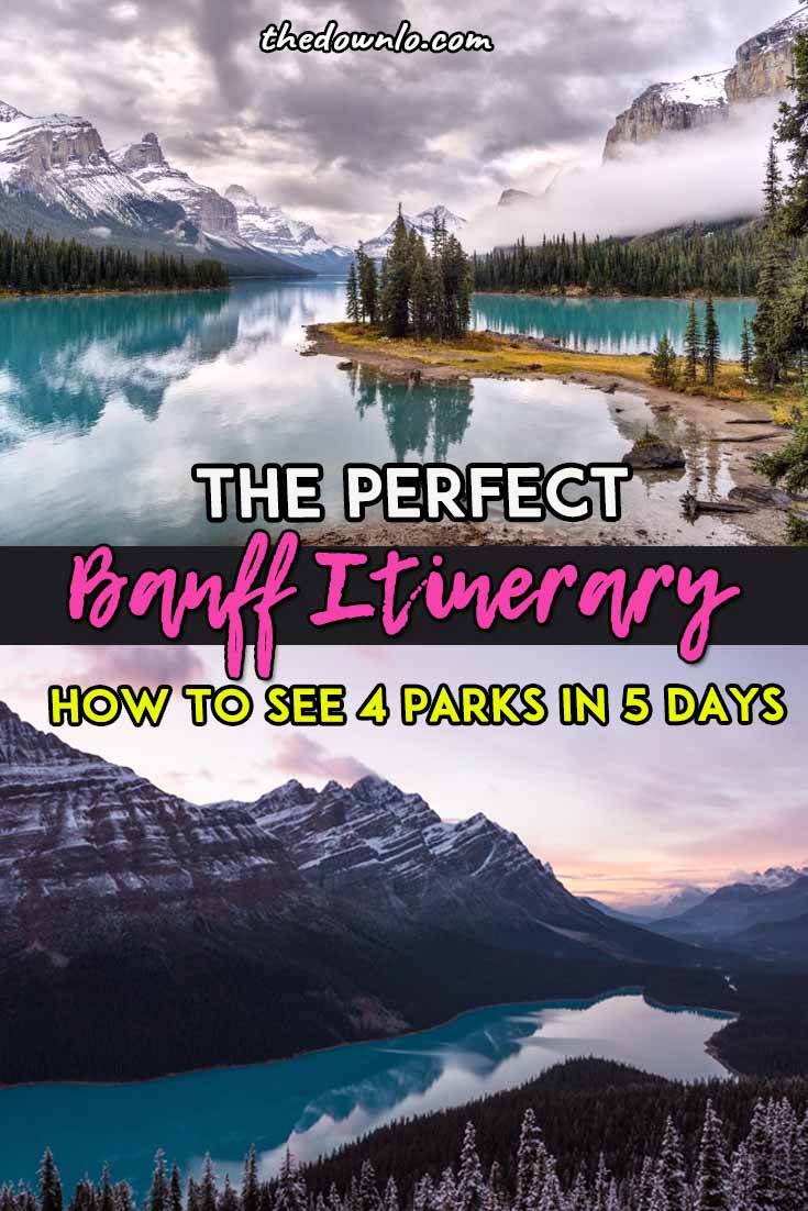 Looking for the perfect Banff itinerary and adventure pictures to inspire wanderlust? Hit Lake Louise, Lake Moraine, Jasper National Park, Johnston Canyon Cave, and of course, Banff National Park for lakes, parks, and mountains galore. Enjoy a fun 5 day road trip through the Canadian Rockies for things to do this spring, summer or fall for waterfall, glacier hiking and landscape photography and the great outdoors. #roadtrip #canada #banff #travel #alberta