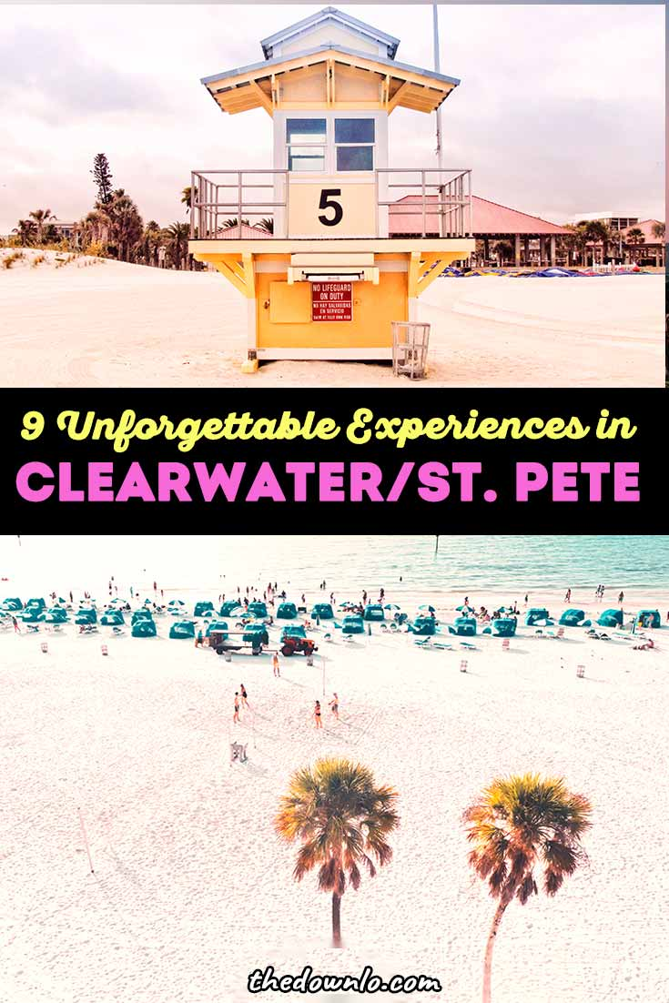 Things to do in Clearwater Beach Florida and things to do in St.Petersburg, FL for photoshoots and Instagram murals and photography spots to must-eat restaurants, plus attractions like seeing dolphins at the Marine Aquarium, Pier 60 boardwalk, The Don Cesar hotel, Sunken Garden, the downtown museums, and watersports. Pictures and photos to inspire vacations and bucket list adventures.
