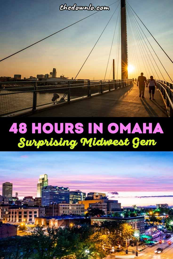Things to do in Omaha, Nebraska. How to spend 48 hours exploring downtown. What to do at the zoo, restaurants, Old Market, and art. The best food, Instagram photography spots, nightlife, hiking, scenery, and vacation ideas for winter, spring, summer and fall. Pictures and a travel guide to inspire your trip to the Midwest with kids or without. Beautiful places, the best neighborhoods, and city attractions you must visit. #omaha #nebraska #ne #travel